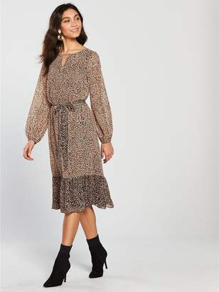Wallis Ditsy Animal Midi Dress - Leopard Print