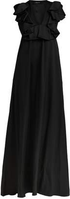 Rochas Ruffled Duchesse Silk Satin Gown - Womens - Black