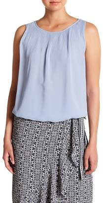 Max Studio Solid Sleeveless Pleated Blouse