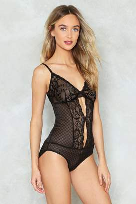 Nasty Gal Double Cut Out Cami Strap Lace Bodysuit
