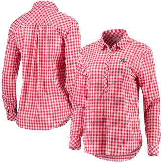 Unbranded Women's Sail Racing Red Georgia Bulldogs Intercoastal Hadley Popover Gingham Long Sleeve Shirt