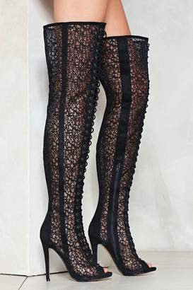 Nasty Gal Lace Face Facts Thigh-High Boot
