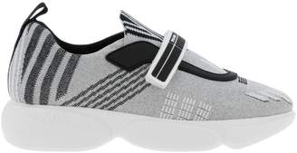 Prada Sneakers Clodbust Sneakers In Lurex Technical Nylon And Rubber With Maxi Sole And Buckle By