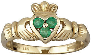 Solvar Emerald Heart Claddagh Ring, 14K Gold