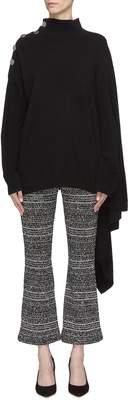 Sonia Rykiel Button shoulder asymmetric drape cashmere turtleneck sweater