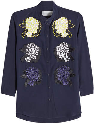 Victoria Beckham Victoria Silk Blouse with Flower Appliqué