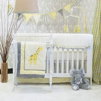Pam Grace Creations Giraffe Safari Jungle / 10-Piece Crib Bedding Set / Yellow and Gray