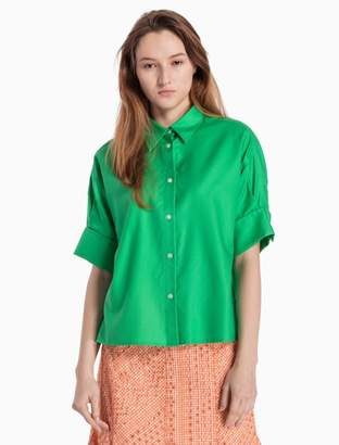 Calvin Klein oxford cuffed short sleeve top