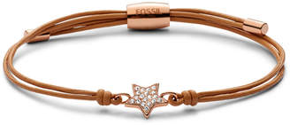 Fossil Star Gold-Tone Leather Bracelet