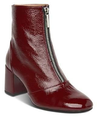 Whistles Women's Rowan Round Toe Patent Leather Mid-Heel Booties