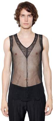 Ann Demeulemeester Sheer Netting Cotton Tank Top