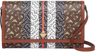 Burberry Monogram Stripe E-canvas Wallet with Strap
