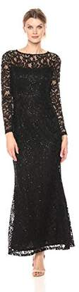 Marina Women's Long Sleeve Stretch Sequin Lace Gown