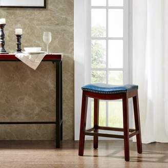 "Darby Home Co Henninger 27"" Bar Stool Darby Home Co Upholstery: Mushroom, Frame Finish: Espresso, Nailhead Finish: Bronze"