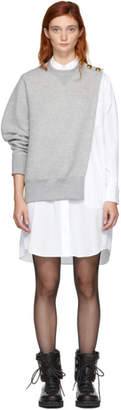 Sacai Grey and White Sweat Shirting Combo Dress