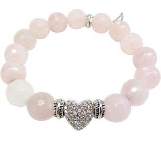 Dripping In Gems Rose Quartz Bracelet with Silver Heart Charm