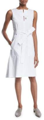 Rosetta Getty Sleeveless Tab-Neck Belted Cotton Poplin Dress