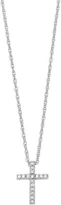 Diamond Petites 10k White Gold 1/10-ct. T.W. Diamond Cross Pendant