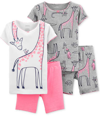 Carter's Carter Baby Girls 4-Pc. Cotton Dinosaur Pajamas Set