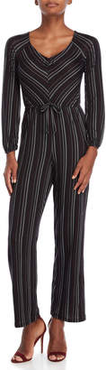 Derek Heart Striped Wide V-Neck Jumpsuit