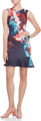 Karen Millen Floral Asymmetric Flounce Dress