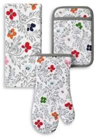 Kate Spade Floral Blockprint 3-Piece Oven Mitt Set
