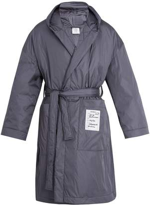 Tie-waist padded hooded coat