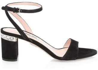 b605bfca4d51 Miu Miu Suede Ankle-Strap Jewel-Heel Sandals