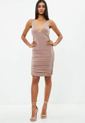 Missguided Nude Metallic Slinky Cross Back Ruched Dress