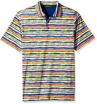 Bugatchi Men's Soft Finish Trim Fit Mult Stripe Printed Polo Shirt