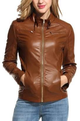 Moto HOTOUCH Womens Soft PU Leather Biker Jacket Bomber Jacket M