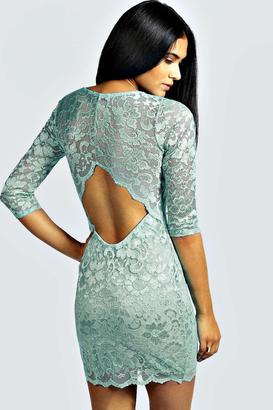 boohoo Nina Scallop Detail Open Back Lace Bodycon Dress $46 thestylecure.com