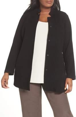 Eileen Fisher Grid Stretch Cotton & Tencel(R) Blend Jacket