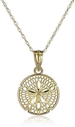 14k Yellow Sand Dollar Pendant Necklace