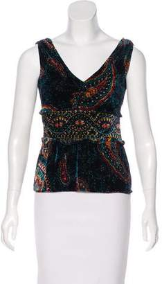 Cacharel Patterned Velvet Top