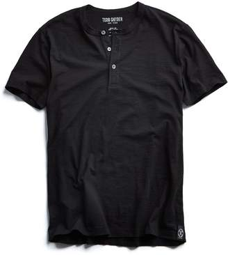 Todd Snyder Made in L.A. Slub Jersey Short Sleeve Henley in Black
