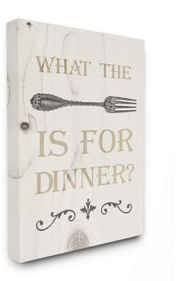 The Stupell Home Decor Collection What The Fork Funny Typography Wood Look Stretched Canvas Wall Art, 30 x 1.5 x 40