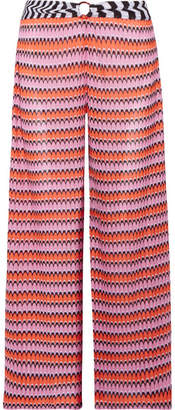 Mare Cropped Crochet-knit Wide-leg Pants - Pink