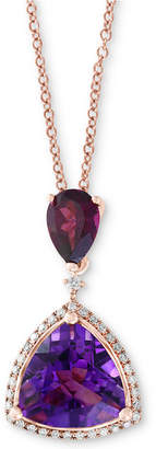 "Effy Multi-Gemstone (3-9/10 ct. t.w.) & Diamond (1/8 ct. t.w.) 18"" Pendant Necklace in 14k Rose Gold"