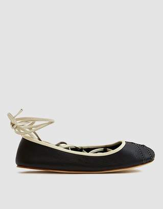 Marni Lace Up Ballet Flat in Black