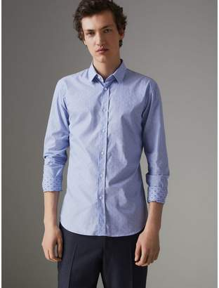 Burberry Slim Fit Fil Coupe Cotton Shirt , Size: 15, Blue