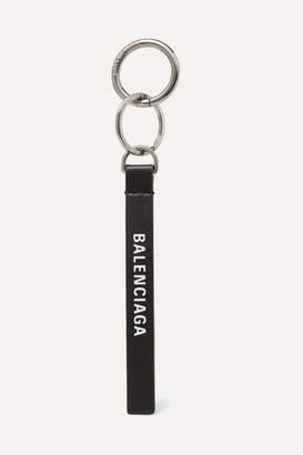 Balenciaga Printed Leather Keychain - Black