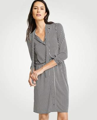 Ann Taylor Tall Stripe Tie Neck Shirtdress