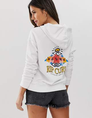 Rip Curl Locals Only logo beach hoodie in white