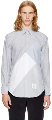 Thom Browne Navy Directional Patchwork Point Collar Shirt