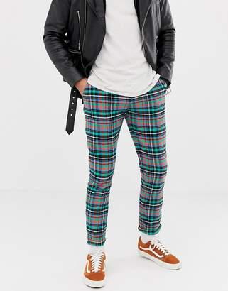 Asos DESIGN slim pants in bright check