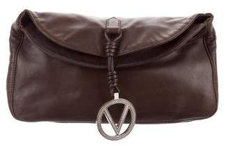 Valentino Fold-Over Leather Clutch