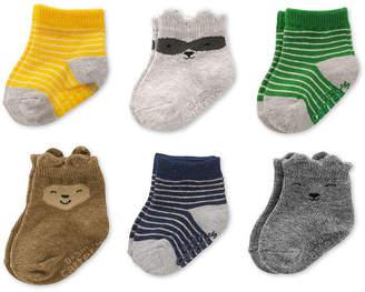 Carter's 6 Pack Crew Cut Critter Socks - Baby Boy