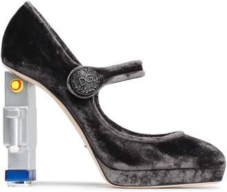 Dolce & Gabbana Embellished Velvet Platform Mary Jane Pumps