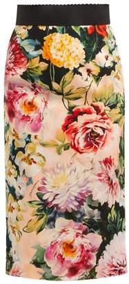 Dolce & Gabbana Floral Print Crepe Pencil Skirt - Womens - Ivory Multi